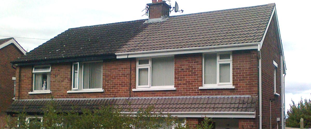 Roof Cleaning - showing before and after area - Roof Repairs Belfast, Northern Ireland